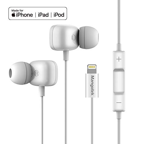 Hoofdtelefoon voor iPhone, Mangotek-oortelefoons Oordopjes In-Ear Connector MFi gecertificeerd met microfoon Compatibel met iPhone11 / 11Pro / X/XS/XSMax/XR iPhone 8 / 8P iPhone 7/7 Plus (wit)
