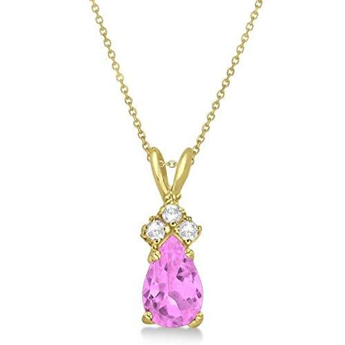 Colgante de solitario de zafiro y diamante de color rosa pera Colgante de oro de 14 k oro amarillo (0.75ct)