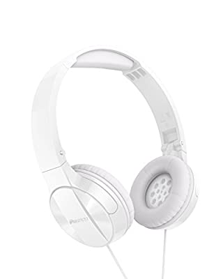 Pioneer MJ503 On-Ear Headphones with cable (high and balanced sound quality, padded headband, foldable and easy to carry, certified for iPod, iPhone & iPad), White by Pioneer