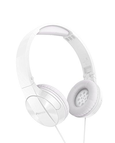Pioneer MJ503 Cuffie On-Ear con cavo (qualità audio elevata e bilanciata, archetto imbottito, pieghevole e facile da trasportare, certificato per iPod, iPhone e iPad), bianco