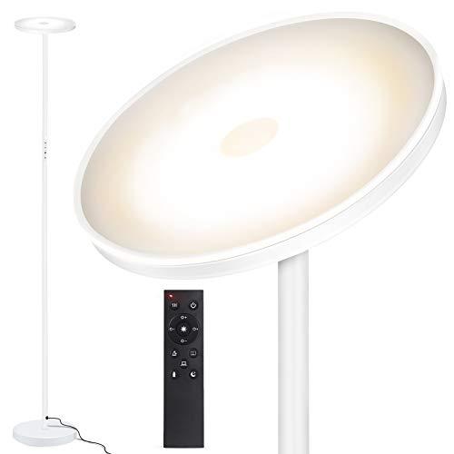 OUTON Lampada da Terra, 30W/2400LM 126 LED Lampada da Pavimento Moderna con Telecomando, 3 Temperature di Colore &Interruttore Touch, per Soggiorno, Camera