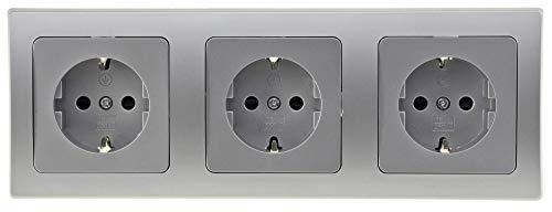 DELPHI 3-fach Steckdose Silber Grau Unterputz I UP Einbau I 3Stück 230V Schutzkontakt Steckdosen mit 3-fach Rahmen