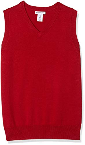 Amazon Essentials Kids Boys Uniform Cotton V-Neck Sweater Vests, Red, X-Large