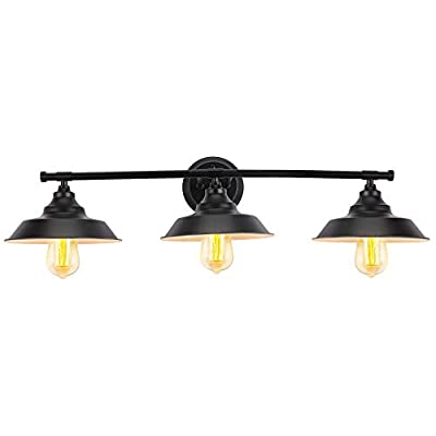 LUVISI Farmhouse 3 Light Bathroom Vanity Wall Sconce,Matte Black Industrial Wall Mount Lamp with Metal Shade for Bathroom, Kitchen, Powder Room,Dining Room, Dressing Table,Hallway