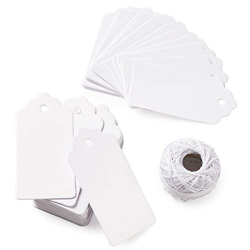 150枚 92x45.5mm 白い矩形 無地 麻糸付き手製のカード 荷札シール 値札 紙の値札 衣類価格タグ メッセージ プレゼント ファンタジー 単語カード クラフト メモ ラベル DIY 結婚式 バーティー 装飾用 撮影用