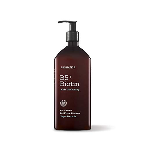 AROMATICA B5+Biotin Fortifying Shampoo 13.53oz / 400ml, Best Haircare by CertClean 2020,Silicone Free, Sulfate Free, Vegan, EWG VERIFIED, Men and Women, Fuller thicker hair, Volume, Strength and Shine