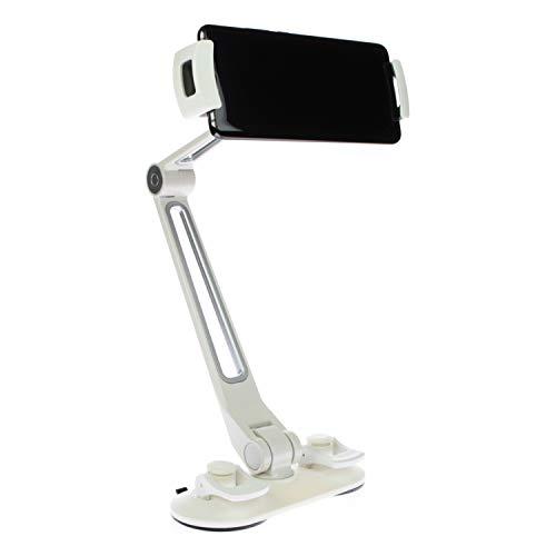 SINLAND Unverselle Halterung 360° drehbar | Für Tablet, Handy, Smartphone & Kamera | Saugnapf XL Weiß