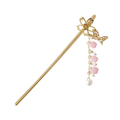 Lurrose Metal Cherry Blossom Bow Pearl Chain Hairpin Hair Sticks Headpiece Accessories for Women