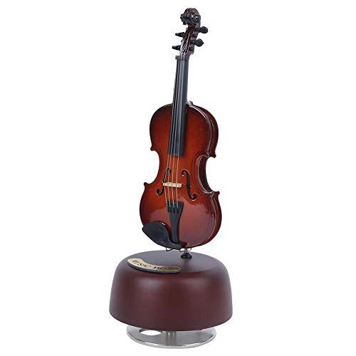Keenso Caja de música de violín Cuerda clásica con Base Musical giratoria, réplica de Instrumentos en Miniatura, Regalo de Arte(Violin)