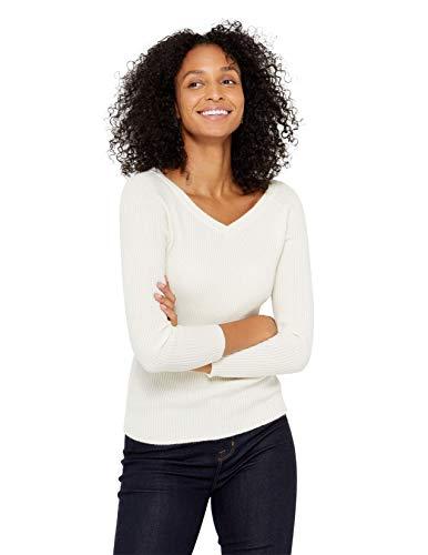 State Cashmere Damen Strickpullover mit V-Ausschnitt 100% reinem Kaschmir Feinstrick Langarm Rippen Pullover (L, Elfenbein)