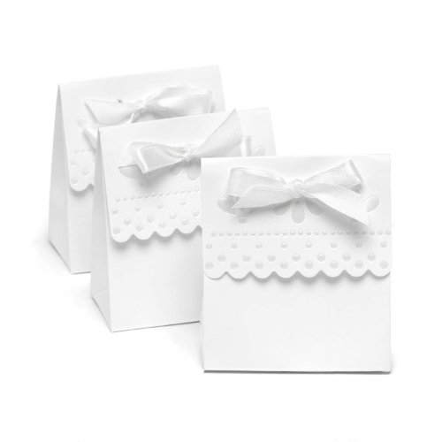Hortense B. Hewitt Wedding Accessories Favor Boxes, White with Scalloped Edges, 25 Count