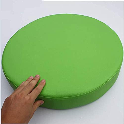 Almohadillas De Silla, Cojín De Asiento De Piel Sintética Gruesa, Silla De Color Sólido Redondo Cojín De Memoria De Memoria De Espuma Tapa Extraíble No Slip (Size:45x45x5cm(18x18x2inch),Color:Verde)