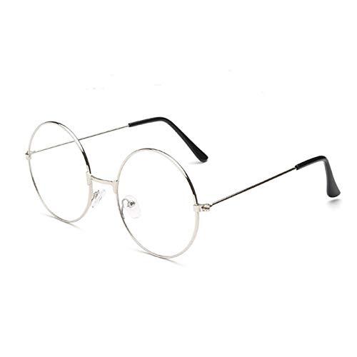 TRIXES Brille mit Rundgläsern in Silber - Beatles Retro Sechziger Jahre Stil Klarglas Gläser - Runde Brille als Kostümergänzung Cosplay Retro-Partys Geek Gläser Zubehör zum Anziehen - Klassische Vinta