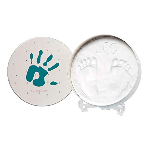 Baby Art Magic Box Scatola Tonda in Metallo con Kit Impronta per Calco di Mani e Piedi del Neonato, Regalo Nascita o Bomboniera Battesimo, Mano Color Smeraldo