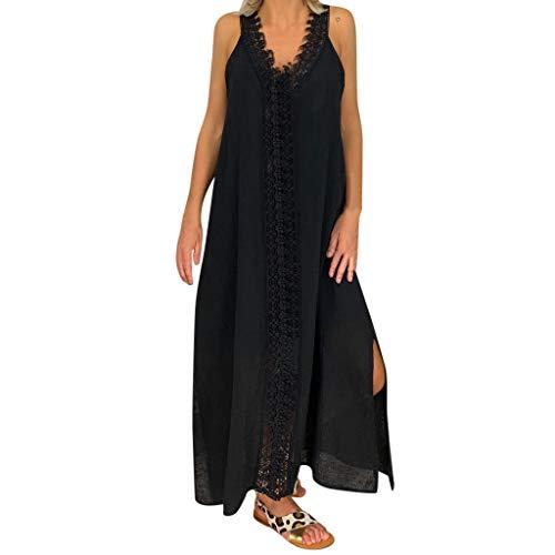 NPRADLA Damen Kleid Maxikleider Damen Freizeitkleider Sommerkleid Lang Damen Kurzarm Kleider mit Taschen
