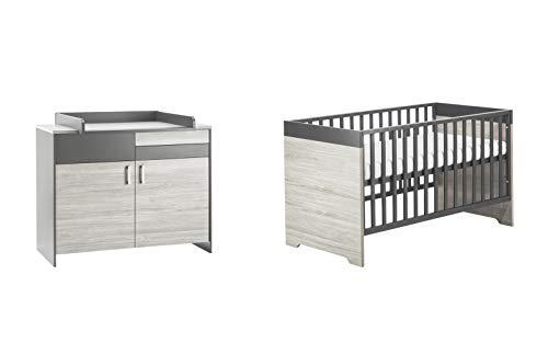 Schardt 10 950 23 00 Set économique Clou, un lit combiné et commode avec table à langer gris 70 x 140 cm