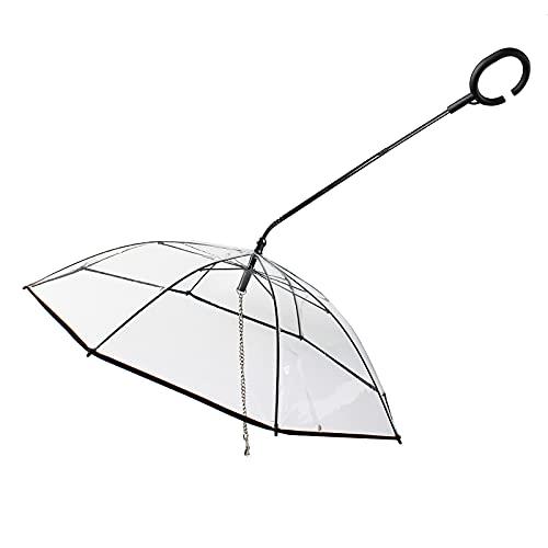FXforer Paraguas transparente para mascotas con correa para perros pequeños, paraguas transparente para mascotas