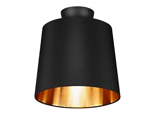 Preisvergleich Produktbild Dekorative Deckenleuchte LAUREA mit STOFF Lampenschirm Ø30cm in Schwarz & Innen Gold einzigartiges Lichtambiente in edlem DESIGN