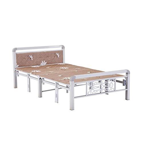 HENG opklapbed, metalen stalen buisbed, stapelbed, stapelbed, eenpersoonsbed, tweepersoonsbed 1 m 1,2 m 1,5 m eenvoudig bed wit