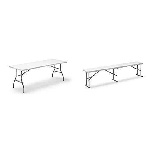 KitGarden Folding 200 - Mesa Plegable, Color Blanco, 200x74x74 cm + Banco Plegable Multifuncional, 180x28x43 cm, Blanco, Folding BC180