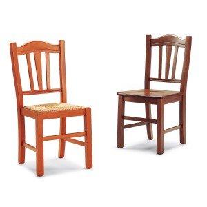 Mobili Ilar Lot de 2 chaises Silvana – Noyer 122 Lunette Paille