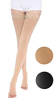 Thigh High Compression Stockings, Opaque, Firm Support 20-30 mmHg Gradient Compression with Silicone Band, TOFLY Open-Toe Compression Stockings, Treatment Swelling, Varicose Veins, Edema, Beige L
