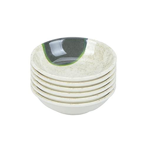 Kekkein 6pcs melamina salsa salsa placas reutilizables pequeño contenedor de inmersión plato de restaurante Home (Color : Lotus Leaf)