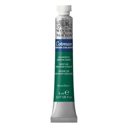 Winsor & Newton 0303312 Cotman Aquarellfarbe, ausgezeichnete Transparenz, Farbkraft und Verarbeitungseigenschaften, 8 ml Tube, hooker's grün dunkel