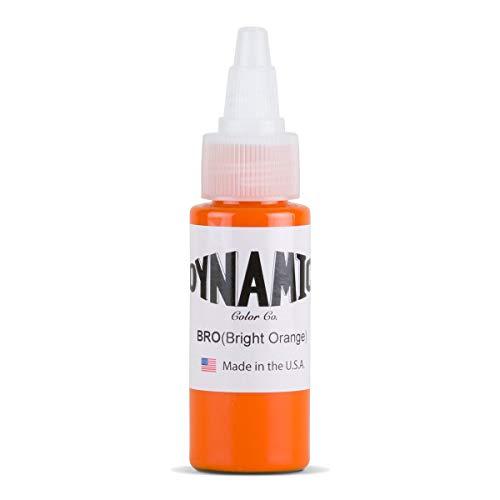 DYNAMIC Bright Orange 1-oz Tattoo Ink Brite Vibrant & Dark Color Tattoo Supply