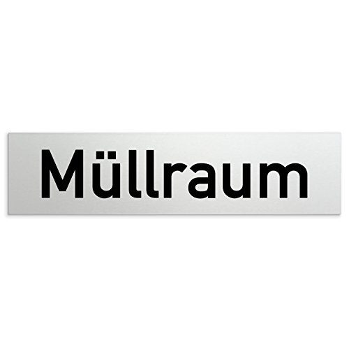 Kinekt3d Leitsysteme Aluminium Türschild Müllraum 160 x 40 x 1,5mm (Oberfläche veredelt) • Selbstklebend