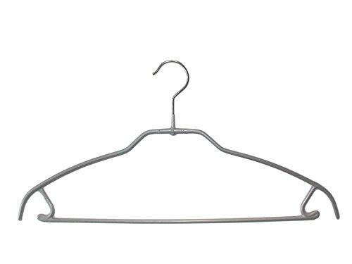 MAWA 0413015052 10 x Metall Kleiderbügel, Steg SKINfriedly anti-Rutsch Beschichtung 42 cm silber