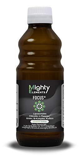Liposomaler Brain Booster Citicolin (CDP-Cholin) (150 mg) I Ginkgo-Extrakt (100 mg) I L-Theanin (100 mg) I Koffein (50 mg) I B-Komplex I hochdosiert I vegan I Mighty Elements Focus+ I 100 ml
