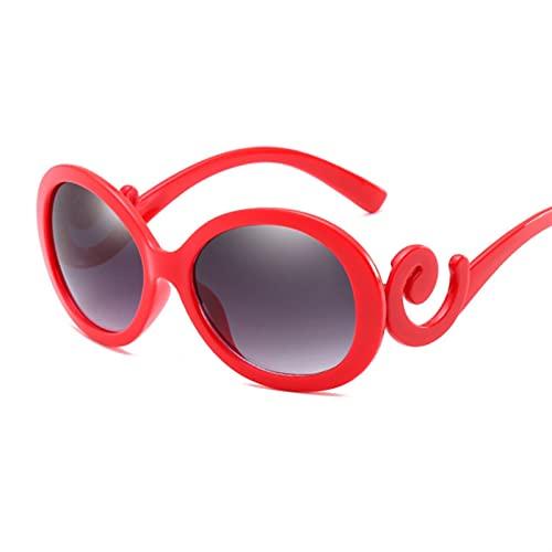 SLAKF Gafas duraderas Vintage Oval Gafas de Sol Mujeres Diseñador de la Marca Gafas de Sol Sombras Femeninas Pequeñas Gafas de Lentes Negras UV400 Gafas de Moda (Lenses Color : Red)