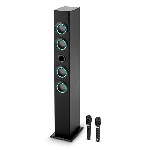 Oneconcept Tall Boy Set de Karaoke - Torre de Sonido con 4 Altavoces de Banda Ancha, Bluetooth, Batería Recargable, Potenciador de Bajos, LED, 2 Micrófonos Alámbricos, Negro