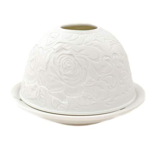 Porzellan-Teelicht-Windlicht, Starlight Nr.62, Rose, Lithophanie weiß
