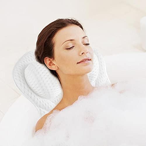 LC&TEAM Bad Kissen Badewannenkissen Nacken Kopfkissen Badewanne Wannenkissen mit 6 Saugnäpfen Spa-Kissen mit 4D-Air-Mesh-Technologie Nackenkissen als Kopf, Schulter und Nackenstütze - weiß