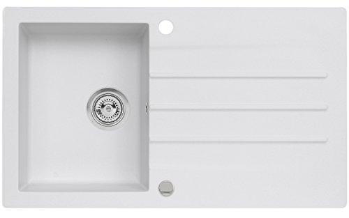 AXIS KITCHEN Mojito 100 Küchenspüle 86x50 Farbe Weiss Material Axigranit 50er Unterschrank Spülbecken Siphon, Exzenterbedienung, Ausschnittschablone