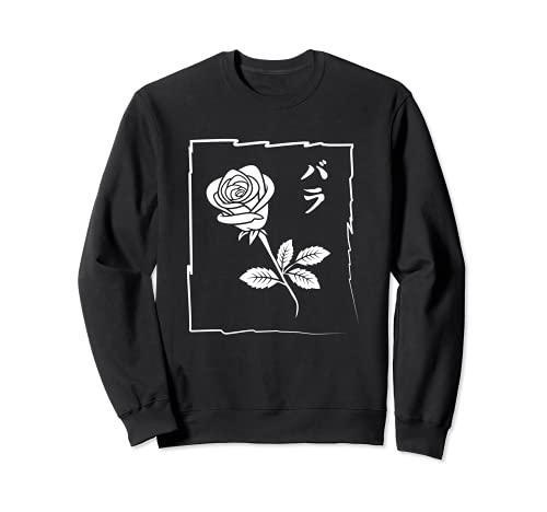 Rose and Thorns Minimal Asian Aesthetic Flowers & Love Sudadera