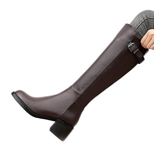 HEWXWX Stivali da Equitazione Nuovi,Stivali da Equitazione Donne,Stivali da Equitazione in Stile Scozzese in Stile Medievale Alto Stivali in Pelle Liscia,Brown(Warmth)-EU34