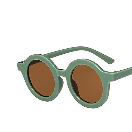 YULE Gafas de sol para niños y niñas con montura redonda y lentes grises para protección de ojos UV400 para niños y exteriores, color rojo y gris
