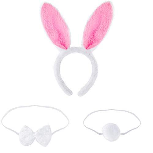Orejas de conejo, orejas de conejo de peluche, diadema, orejas de conejo, diadema, cola de conejo, corbata para niños y adultos, fiesta de Pascua o decoración de disfraces (rosa, 1 unidad).