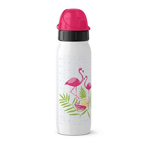 Emsa Iso2Go 518377 Isolierte Trinkflasche, 0,5 Liter, AutoClose Verschluss, Flamingo