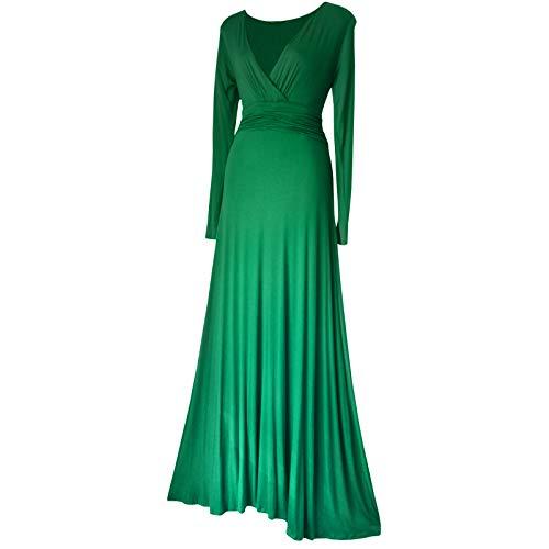 langärmlig lang voll Länge Abend formelle Maxi Partykleid Sizes 8 - 24 Black, Burgund, rot, lila, grün oder türkis - Smaragd-grün, 40