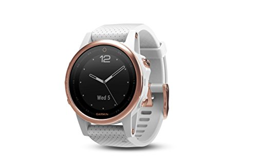Garmin fēnix 5s, Premium and Rugged Smaller-Sized Multisport GPS Smartwatch, Sapphire Glass, Rose Gold/White