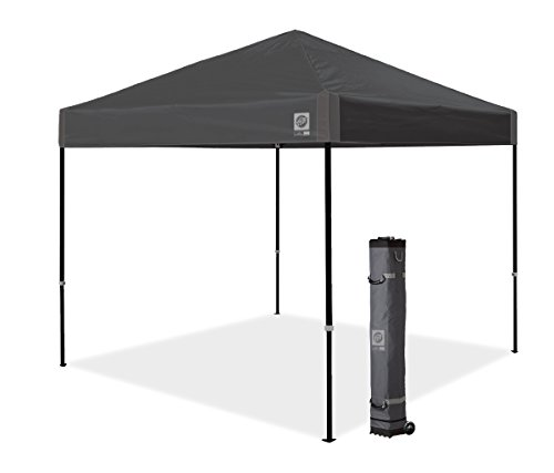 E-Z UP Inc. AMB3SBKF10SG E-Z UP Ambassador, 10' x 10', Roller Bag and 4 Piece Spike Set, Steel Gray Instant Canopy Shelter Tent