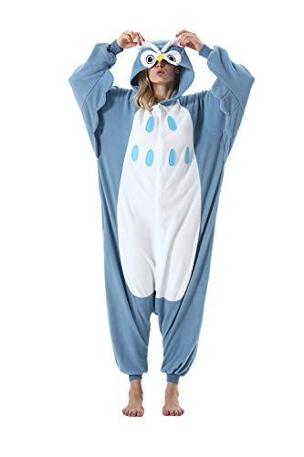 Erwachsene Jumpsuit Onesie Tier Karton Fasching Halloween Kostüm Sleepsuit Cosplay Overall Pyjama Schlafanzug, Eule, M