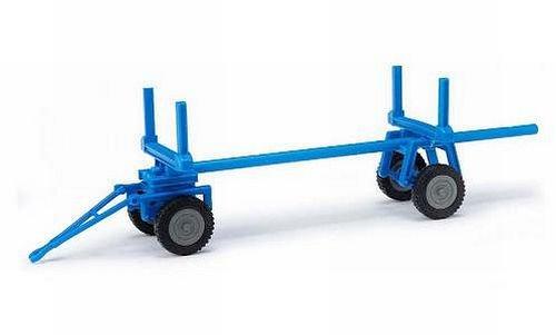 Anhänger Langholzanhänger, blau, 1960, Modellauto, Fertigmodell, Mehlhose 1:87