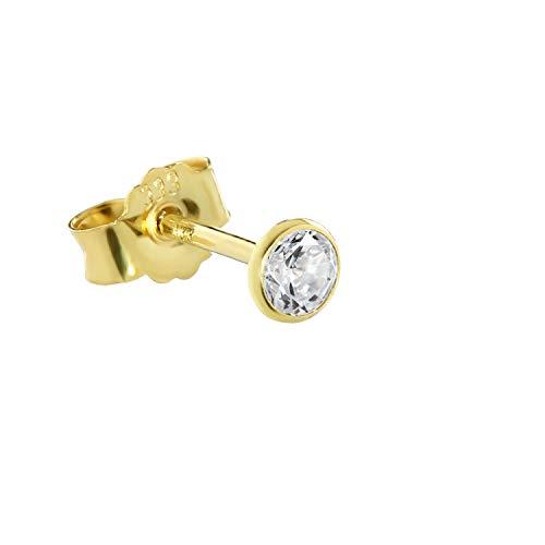 NKlaus Einzel Ohrstecker echt Gold 333er 8 Karat 3,5mm Cubic Zirkonia Damen Herren 0,38g 3753