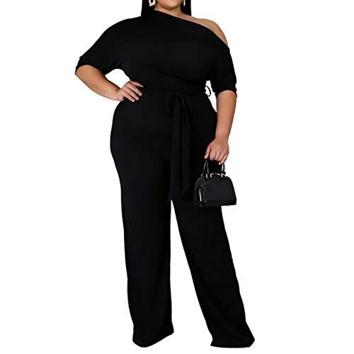 Women's Plus Size Short Sleeves High Waist Off One Shoulder Club Cocktail Jumpsuit Romper Pants Playsuits Black 5XL