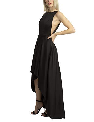 APART traumhaft schönes Damen Kleid, Abendkleid, Cocktailkleid, Partykleid, Satin, Oberteil seitlich offen mit Mesh, Vokuhila-Style